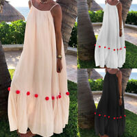 Plus Size Women Long Sleeveless Strappy Maxi CaLadies Summer Beach Sun Dress