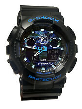 Casio GA100CB-1A G-Shock Blue Analog Digital Black Resin Band Men Watch New