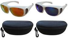 2PCS 100%UV Color Polarized sunglass cover over Rx glass white frm unisex+cases