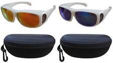 2PCS 100%UV Color Polarized sunglass cover over Rx glass white frm unisex+cases