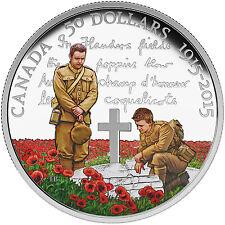 """2015 Canada $50 Proof Silver 100th Anniv of """"In Flanders Fields"""" - SKU #89608"""