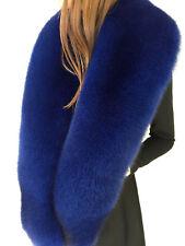 Blue Fox Fur Stole Saga Furs Navy Blue Collar 70' (180cm)