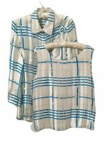 Allison W Women's sz LG~2pc Set~Blouse & Tank Top~Blue White Plaid~100% Silk~LS