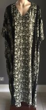 VINTAGE Black & Taupe STYLED BY TOSOL DAVID Floral Print Kaftan Dress Size 36/38