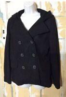 American Rag Womens Black WOOL PEACOAT Jacket Coat Size Medium Hooded