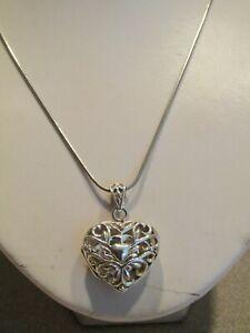 Sterling Silver Open Cut Heart Locket Pendant Chain Necklace SU