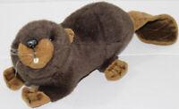 "Vintage 2004 Hansa 12"" BROWN BUCKTOOTH BEAVER Stuffed Plush Animal SOFT TOY Cute"