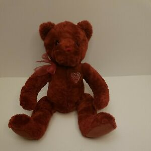 Amore Vintage Stuffed Teddy Bear With Red Ribbon By Gund #43524