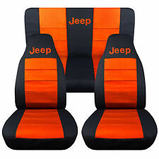 1976-2016 Jeep Wrangler Two Tone Seat Covers Canvas Front & Rear Choose color