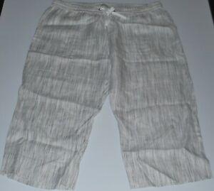 Sportscraft elastic waist cropped linen pants Size 16