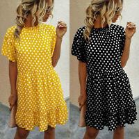 AU Women Summer Smock Dress Top Ladies Holiday Beach Casual Loose Shirt Sundress