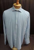 Charles Tyrwhitt classic men's size 17.5 / 36 in long sleeve shirt blue white