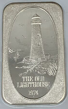1 oz Old Lighthouse Silver Art Bar 1 Troy Ounce .999 Beautiful Collectible