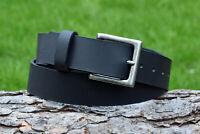 Handmade Full Grain Black Genuine Leather Belt Antique Brass Nickel Buckle