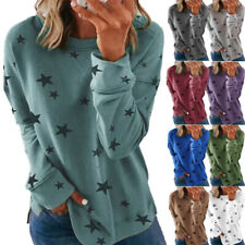 Women Casual Crew Neck Long Sleeve T Shirt Loose Star Print Pullover Tops Blouse