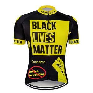 Customized Black Lives Matter Men's Short Sleeve Cycling Jersey Shirt Bike Tops