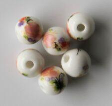 30pcs 8mm Round Porcelain/Ceramic Beads - White / Pale Peach Flowers