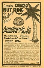 1948 small Print Ad of Genuine Corozo Nut Luck Ring Puerto Rico the black beauty
