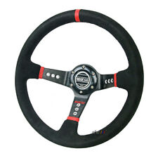 350mm SU Leather Deep Dish Racing Sports Steering Wheel For MOMO SPARCO Boss Kit