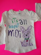 NWT BABY GAP GIRLS TEE IT'S ALL ABOUT MOI DOG LONG SLEEVED T 4T 4 YEARS TOP