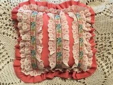 Farmhouse CHIC Handmade Pink Pillow w/ lace & blue/pink floral trim...