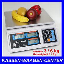 GEEICHTE Verkaufs Markt Laden WAAGE - Wägebereich 3/6kg -  vom Fachhändler