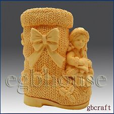 3D Silicone Soap & Candle Mold - Girl on Christmas Boot