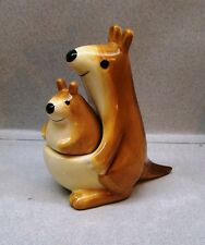 """KANGAROO W/ BABY JOEY IN POUCH MAGNETIC 4"""" TALL SALT & PEPPER SHAKERS OE G5"""