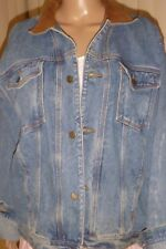 NEW Mens Classic Denim Jacket 100% cotton with Leatherette Collar Size M