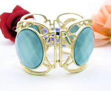 BRACELET WIDE Chunky Vintage LITE BLUE Oval Facet CABS Goldtone Elastic Stretch