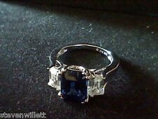 3 CTW BLUE SAPPHIRE & WHITE SAPPHIRE EMERALD ENGAGEMENT ANNIVERSARY  RING SZ 7