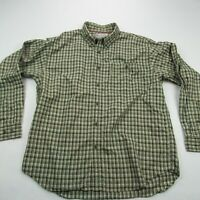 Columbia Mens Button Front Shirt Green Checks Long Sleeve Pockets Fishing Large