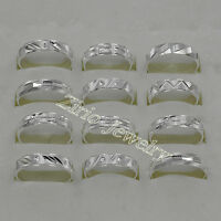 Wholesale Lots 10Pcs 925 Sterling Solid Silver Mens Rings Size 6 to 10