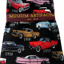 Retro Series 50s Classic Cars Museum Artifacts 100% Silk Tie Style 1153
