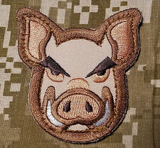 PIG HEAD FACE INFIDEL US ARMY DESERT ISAF MORALE PATCH W VELCRO® BRAND FASTENER