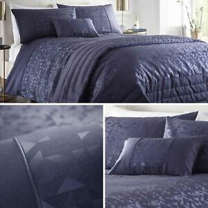 Navy Duvet Covers Geometric Jacquard Shimmer Blue Quilt Cover Bedding Sets