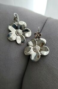 Italy Paola Valentini Sterling Silver 925 Flower Daisy Dangle Earrings