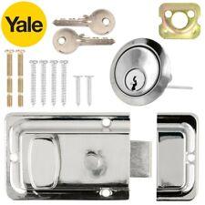 YALE Chrome DEADLOCK NIGHT LATCH Door Lock Catch Cylinder Key Rim 60mm Silver UK