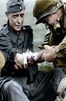 WW2 Picture Photo American Soldier Help Wounded German Soldier 2958