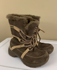 Ulu Womens Suede Leather Brown Snow Boots Size 6