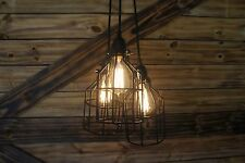 "Edison Age 3- light Black Bulb cage Chandelier pendant light with "" ROUND""  wire"
