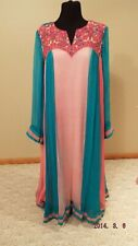 Ladies embroidery chiffon pink teal shirt dress pants  pakistan shalwar kameez.