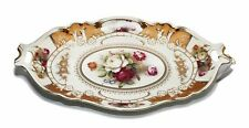 Royalty Porcelain Serving Tray, Vintage Floral Gold Design, 24K Bone China