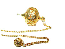 Jet Gold Cage Ball Pendulum Pointed Reiki Wiccan Free Booklet Jet International
