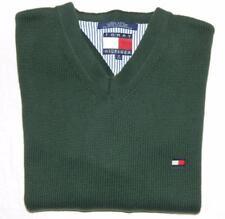 Vintage 90s TOMMY HILFIGER Men's Green Flag Logo V-Neck Sweater Size Medium