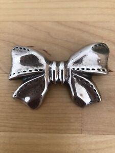Vintage Silver Bow Brooch