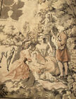 """Vintage Tapestry Victorian Picnic Greyhound Scene Made In France 54""""x 37"""""""
