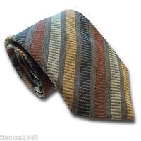 Grey Gold Silver Navy Burgundy Stripe Silk Standard Mens Tie - British Made