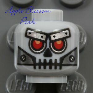 LEGO Monster Robot MINIFIG GRAY HEAD - Halloween Movie Metal Robo Skeleton Skull