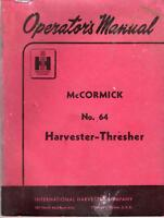 INTERNATIONAL HARVESTER OPERATOR'S MANUAL McCORMICK #64 HARVESTER THRESHER 74 PG